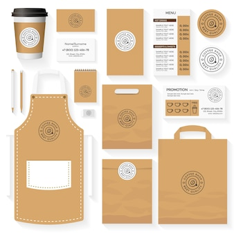 Diseño de plantillas de identidad de cafetería con logo de cafetería