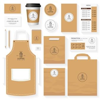 Diseño de plantillas de identidad corporativa de cafetería con logo de cafetería