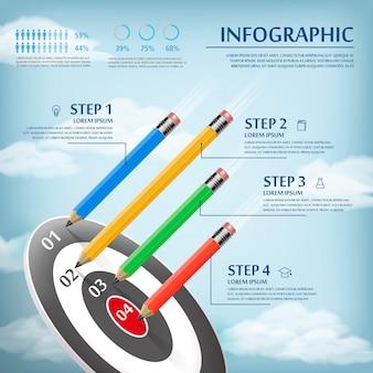 Diseño de plantillas de infografía de educación con lápices y destino
