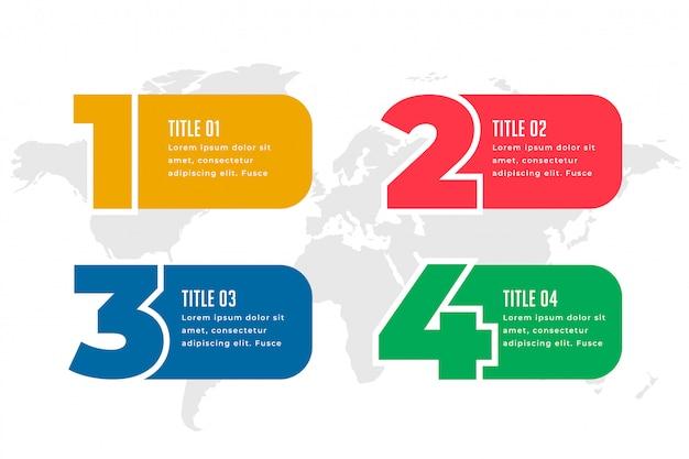 Diseño de plantillas de infografías de cuatro pasos.
