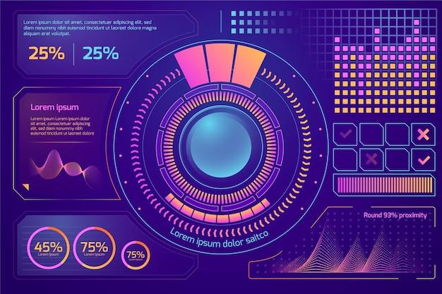 Diseño de plantillas de infografías futuristas