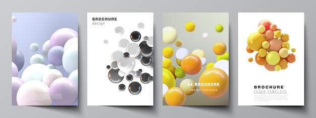Diseño de plantillas de maquetas de portada a4 para folleto, diseño de folleto, folleto, diseño de portada, diseño de libro, portada de folleto fondo realista con esferas 3d multicolores, burbujas, bolas.