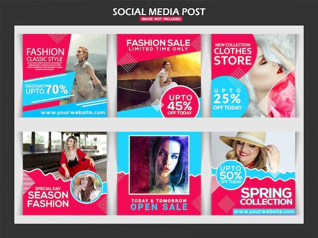Diseño de plantillas de medios sociales de moda.