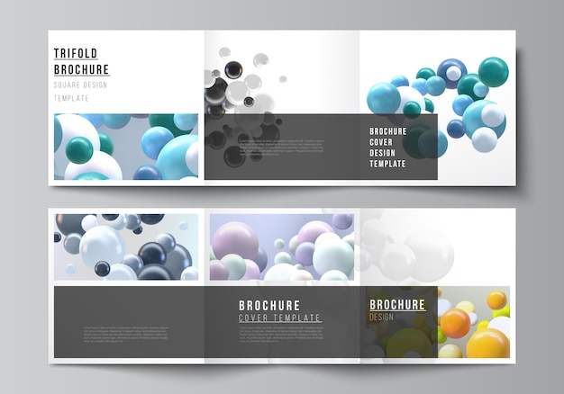 Diseño de plantillas de portadas de formato cuadrado para folleto tríptico