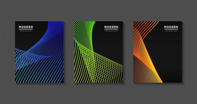 Diseño de plantillas de portadas modernas. gradientes de línea de arte de onda futurista