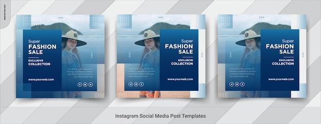 Diseño de plantillas de publicación cuadrada de redes sociales de venta de moda