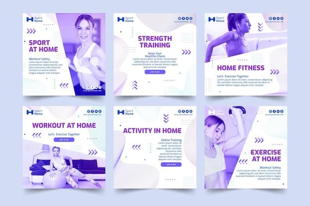 Diseño de plantillas de publicaciones de instagram de deporte en casa