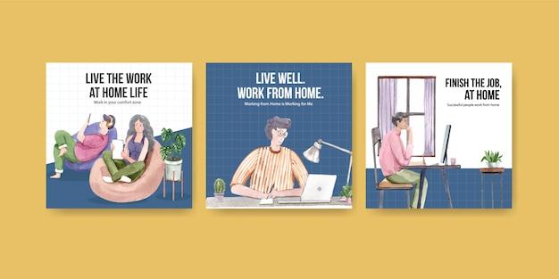 Diseño de plantillas publicitarias con personas que trabajan desde casa. ilustración de vector de acuarela de concepto de oficina en casa