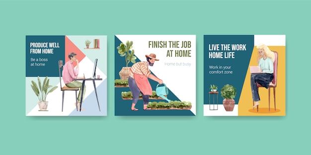 Diseño de plantillas publicitarias con personas que trabajan desde el hogar y plantas verdes. ilustración de vector de acuarela de concepto de oficina en casa