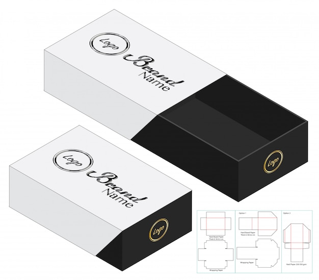 Diseño de plantillas troqueladas en caja de embalaje. maqueta 3d