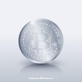 Diseño plateado de bitcoin