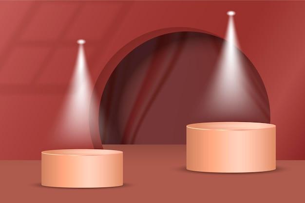 Diseño de podio degradado en renderizado 3d