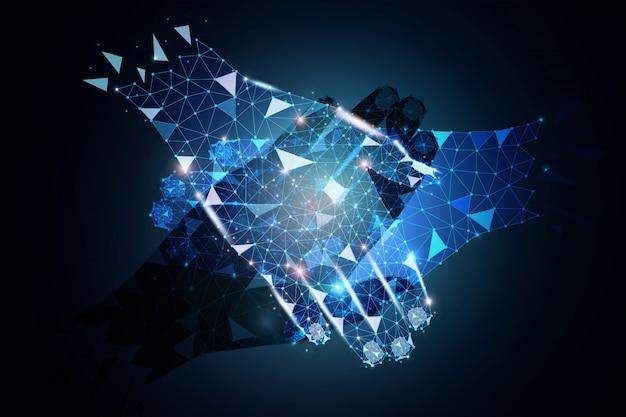 Diseño poligonal de socios comerciales tomados de la mano