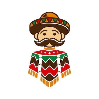 Diseño de poncho de chico mexicano
