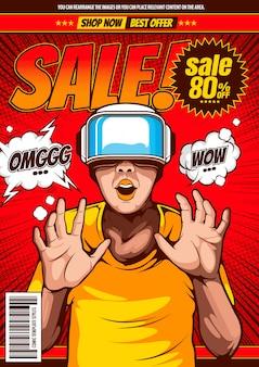 Diseño de pop-art de venta, fondo de plantilla de portada cómica.