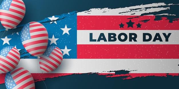 Diseño de portada de celebración del día del trabajo con la bandera de los estados unidos de américa en estilo grunge y globos 3d voladores. plantilla de cartel de vacaciones de estados unidos. ilustración vectorial. eps 10