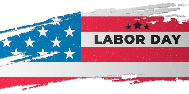 Diseño de portada de celebración del día del trabajo con la bandera de los estados unidos de américa en estilo grunge. plantilla de cartel de vacaciones de estados unidos. ilustración vectorial. eps 10
