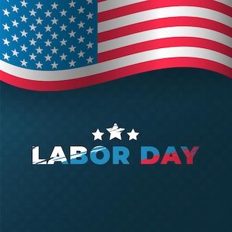 Diseño de portada de celebración del día del trabajo con la bandera de los estados unidos de américa. inscripción con estrellas en estilo grunge. plantilla de cartel de vacaciones de estados unidos. ilustración vectorial