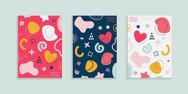 Diseño de portada colorido abstracto con elementos de doodle