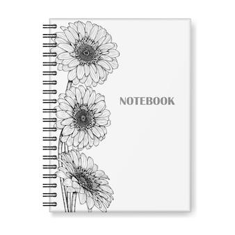 Diseño de portada de cuaderno con flores de gerbera dibujadas a mano.