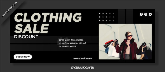 Diseño de portada de facebook de ventas de ropa