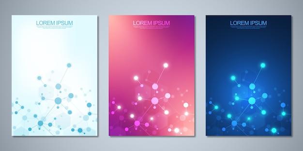 Diseño de portada, flyer, con moléculas y red neuronal. concepto de ciencia y tecnología.