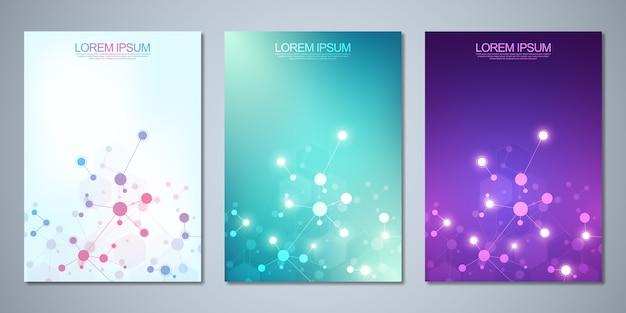 Diseño de portada, flyer, con moléculas y red neuronal