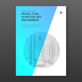 Diseño de portada de folleto farmacéutico con ilustración de matraces