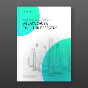 Diseño de portada de folleto farmacéutico con matraces