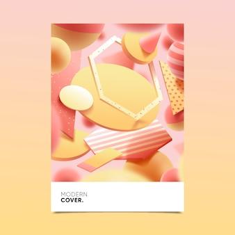 Diseño de portada de forma geométrica 3d para plantilla