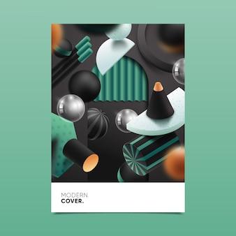 Diseño de portada de formas geométricas 3d