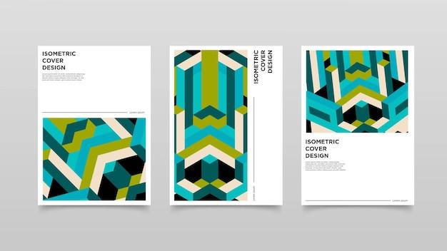 Diseño de portada de formas isométricas abstractas. ilustración de diseño colorido.