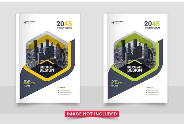 Diseño de portada de libro corporativo listo para imprimir o conjunto de informe anual