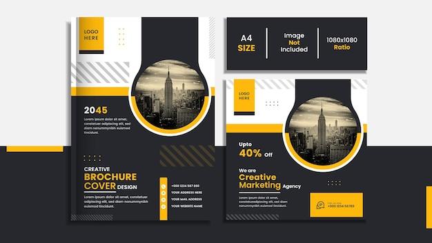 Diseño de portada de libro corporativo y publicación de redes sociales con formas creativas de color amarillo y negro.