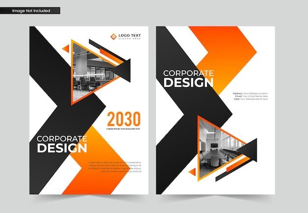 Diseño de portada de libro de negocios corporativos y plantilla de informe anual y folleto