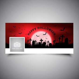 Diseño de portada de la línea de tiempo de halloween