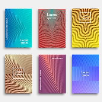 Diseño de portada a la moda con formas de líneas geométricas.