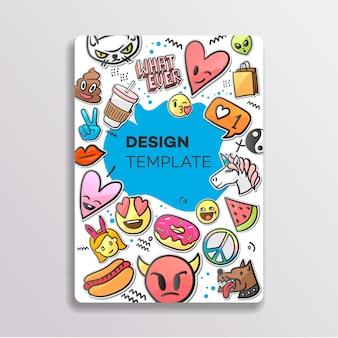 De diseño de portada con patrón de parches. dibujado a mano pegatinas creativas, ilustración.