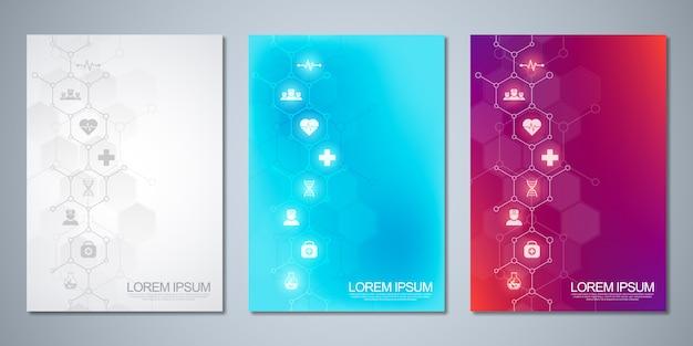 Diseño de portada de plantilla, folleto, con iconos y símbolos médicos. concepto de tecnología sanitaria, ciencia y medicina.