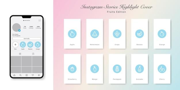 Diseño de portadas destacadas de historias de instagram de frutas