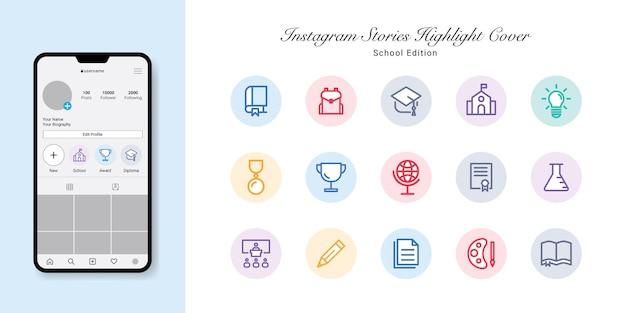 Diseño de portadas destacadas de historias de instagram de regreso a la escuela