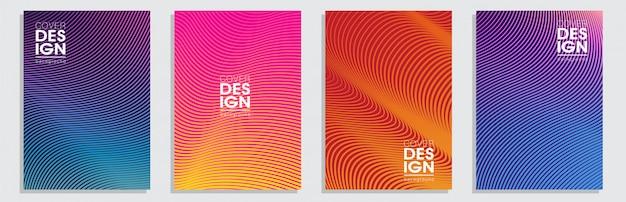 Diseño de portadas mínimas. conjunto de fondo colorido gradientes de semitono