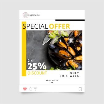 Diseño de post de instagram de alimentos