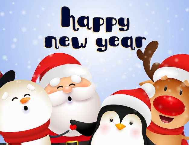 Diseño de postal de año nuevo con lindo santa