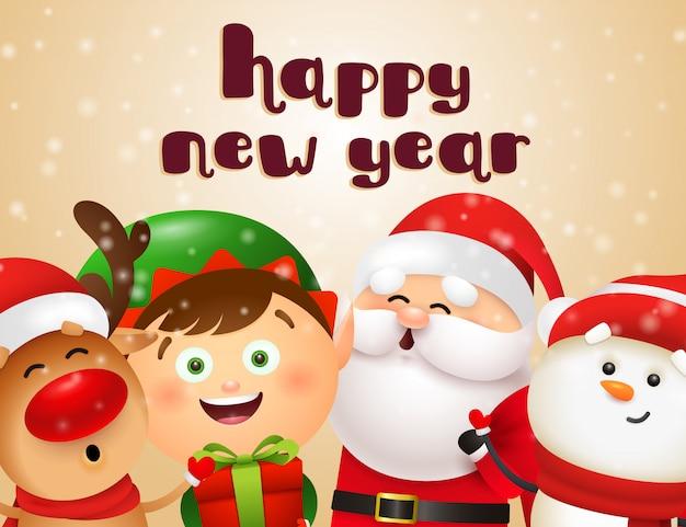 Diseño de postal de año nuevo con personajes de dibujos animados
