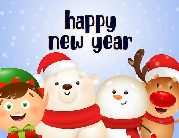 Diseño de postal de año nuevo con renos de dibujos animados