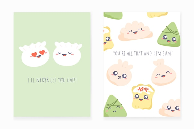 Diseño de postal de dim sum. conjunto de tarjetas de felicitación con bolas de masa hervida y frases divertidas escritas a mano.