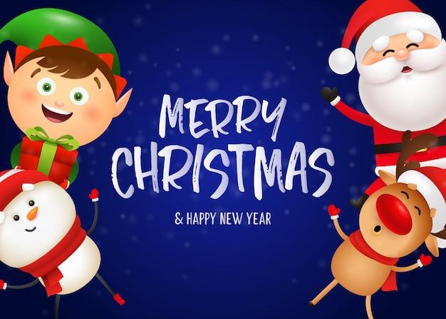 Diseño de postal de navidad con santa divertido
