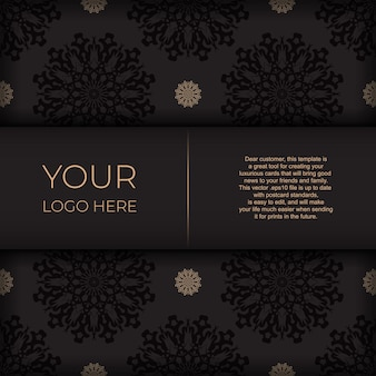 Diseño de postal presentable listo para imprimir en negro con motivos árabes. plantilla de tarjeta de invitación con adornos vintage.
