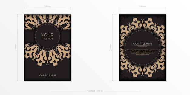 Diseño de postal presentable listo para imprimir en negro con motivos árabes. tarjeta de invitación de vector